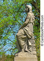 Memorial grave marker at historic Spring Grove Cemetery in Cincinnati Ohio USA.  Spring Grove is the second largest cemetery in the United States and was established in 1845.