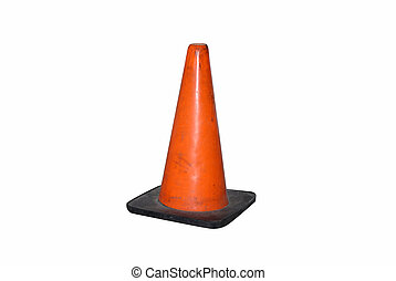 Traffic Cone - an orange traffic cone on a white background