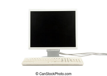 lcd monitor and keyboard - isolated computer lcd monitor and...