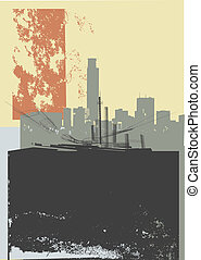 CITY GRUNGE ART - detailed grunge image of skyscrapers on...