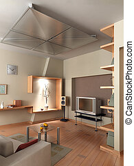 3D render interior - The computer generated 3D image of the...