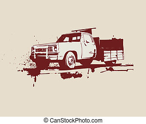 vintage truck - illustration of vintage truck . Grunge...