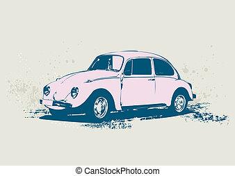 Volkswagen Beetle - illustration of old custom Volkswagen...