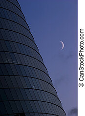 Office building with moon