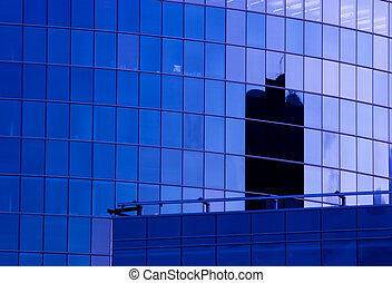 New office building facade - Blue corporate office building...