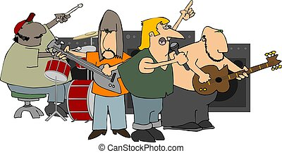 Rock Band - This illustration depicts a rock band playing...