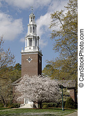Chapel on a private college campus in Springtime