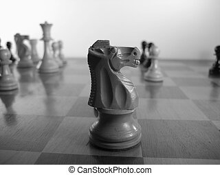 Chess 1 - Close up on knight on chess board during game
