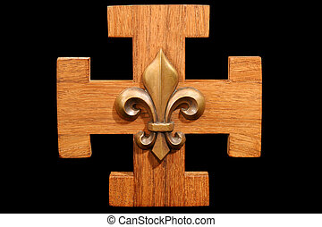 French Scout Emblem - Antique scouting fleur-de-lis on solid...