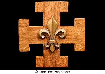 French Scout Emblem - Antique scouting fleur-de-lis on solid...