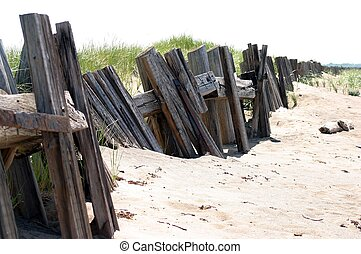 Wooden Breakwater - Breakwater at Merigomish beach, Pictou...