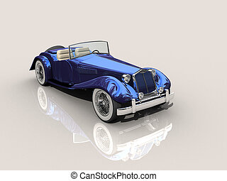 3d blue hot rod - Shiny old Hot Rod 3D model of vintage blue...