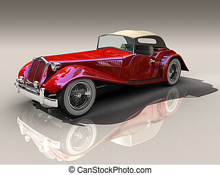 3d Red hot rod - Shiny old Hot Rod 3D model of vintage red...