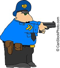 Police Draw Down - This illustration depicts a policeman...