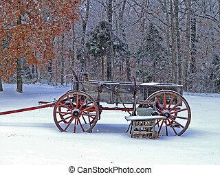 Snowy Wagon - Rustic Wagon on a snowy day in Missouri.