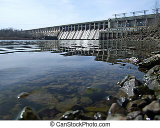 Ozarks' Bagnell Dam - Bagnell Dam forming the Lake of the...