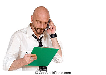 Attractive middle aged businessman, multi tasking -...