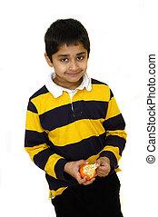 Peeling Orange - Hands peeling orange healthy eating habits