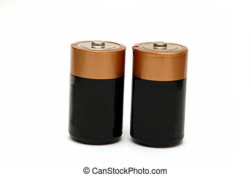 Alkakine Batteries - Two alkaline batteries isolated on...