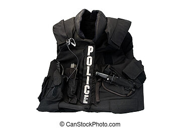 Tac Vest 01 - A police bulletproof tactical vest, isolated,...