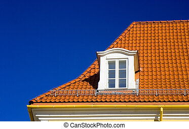 Tiled roof and one window - Flashing orange tiled roof on...