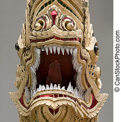 Dragon - Architectural element of Chediluang temple in...