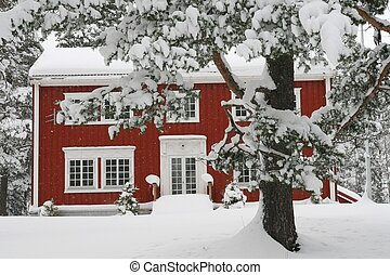 House in snow - Red house in a snowy landscape