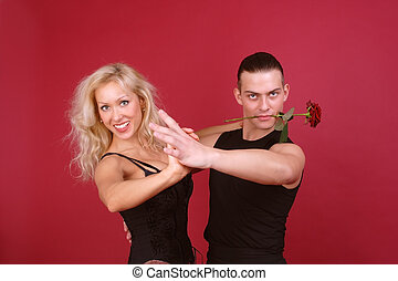 macho with rose - Beautiful laughing blondie and hot macho...