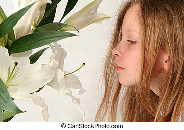 Girl and lilies