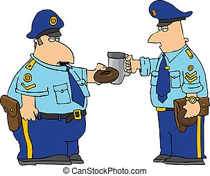 Policemans Toast - This illustration depicts two policemen...