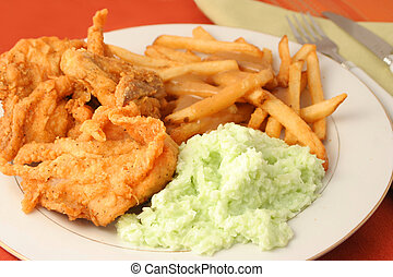 fried chicken dinner - fried chicken, french fries with...