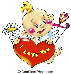 Cupid with heart - Cupid congratulates all in love with...