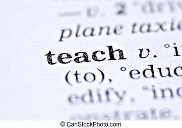 Teach - the word teach written in a thesaurus