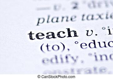 Teach - the word teach written in a thesaurus