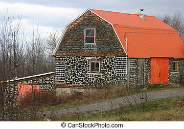 Rustic Barn - Rustic barn, using log end construction,...