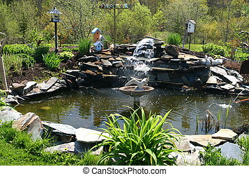 Water garden pond - Backyard water garden pond,...