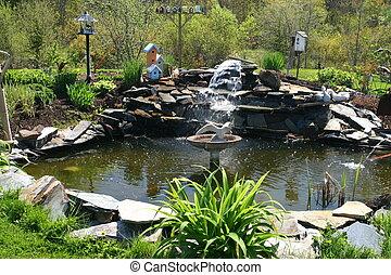 agua, charca, jardín