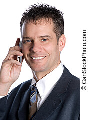 chatting - happy businessman on the cell phone smiling