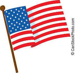 American Flag - American flag on a white background with 50...