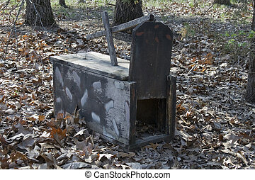 Box Trap - Home made box trap out in the Ozark Highlands.