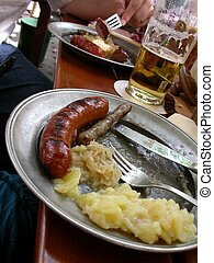 Bratwurst Sour Krout - Bratwurst and sour krout meal at a...