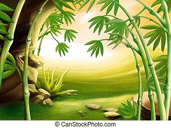 Bamboo - Highly detailed cartoon background 04 -...
