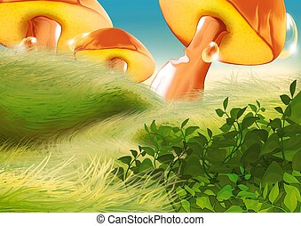 Beautiful mushrooms - Highly detailed cartoon background 05...