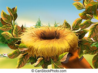 Birds nest - Highly detailed cartoon background 07 -...