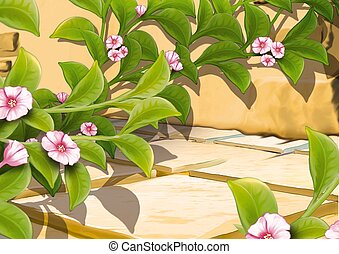 Creeping plant with flowers - Highly detailed cartoon...