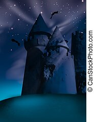 Dark castle - Highly detailed cartoon background 10 -...