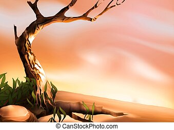 Desert tree - Highly detailed cartoon background 11 -...