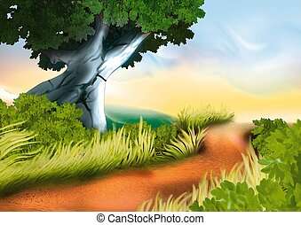 Dirty track - Highly detailed cartoon background 13 -...