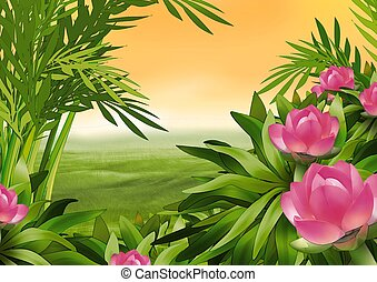 Flowering shrub - Highly detailed cartoon background 16 -...