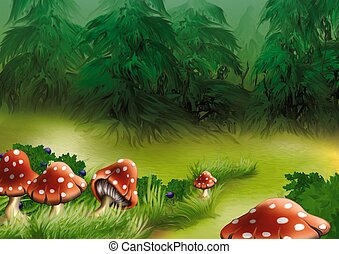 Fly agarics - Highly detailed cartoon background 17 -...